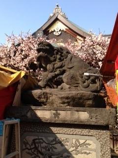湯島天神 狛犬と梅と屋根.JPG